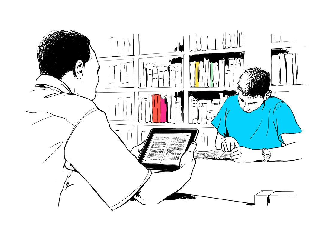 dessin au trait bibliothèque et étudiants