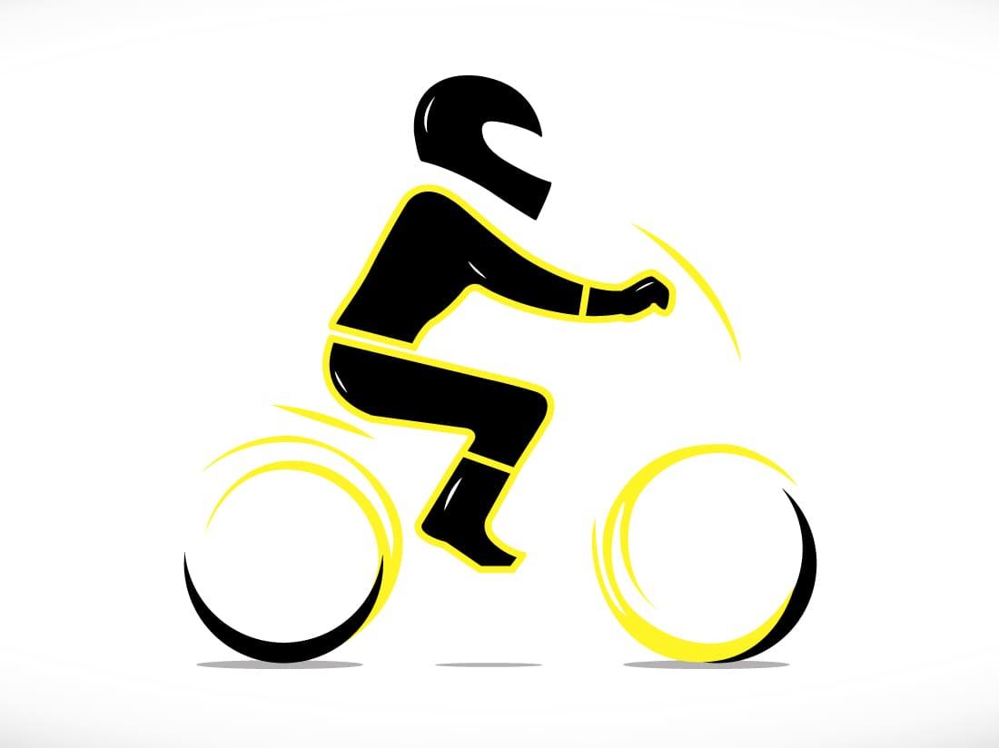 illustration motard bien équipé