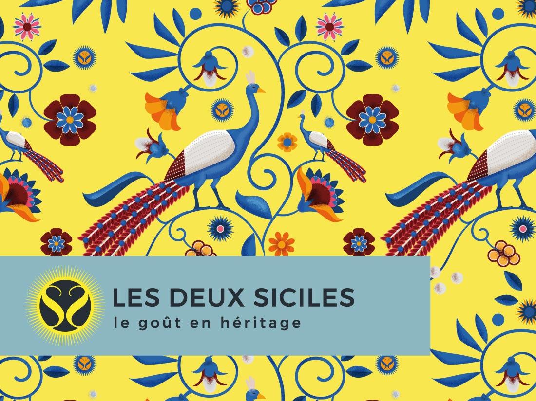 Illustration motif floral et paons