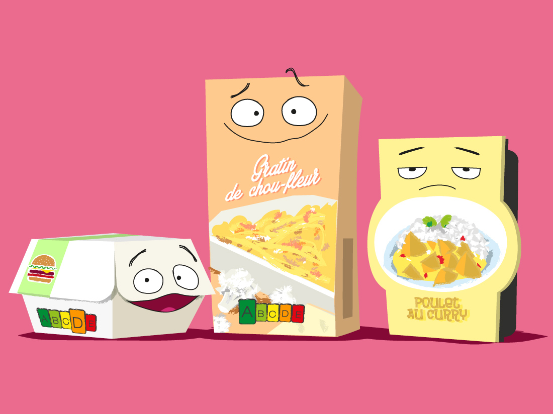 Personnages packaging nutri-score