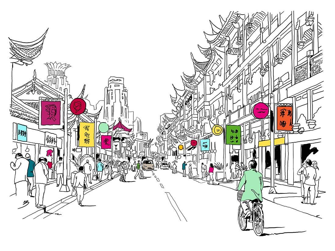 Dessin au trait ville asiatique
